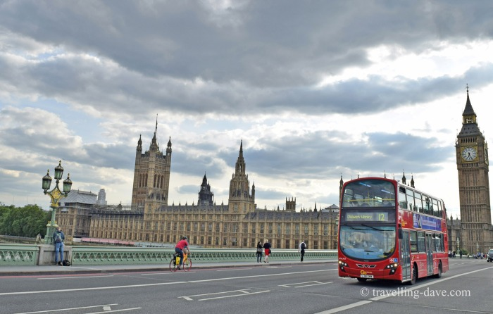 A bus crossing Westminster Bridge