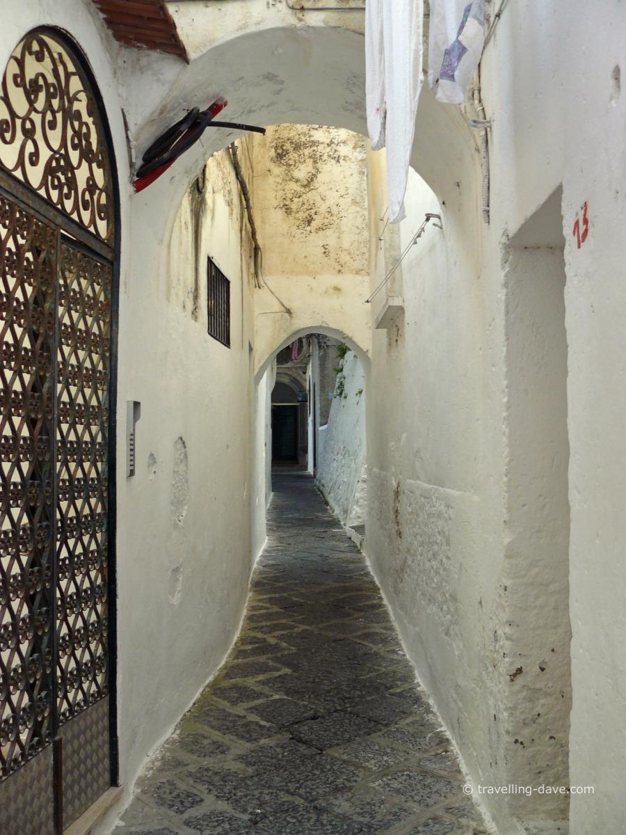 Looking down a narrow street in Amalfi
