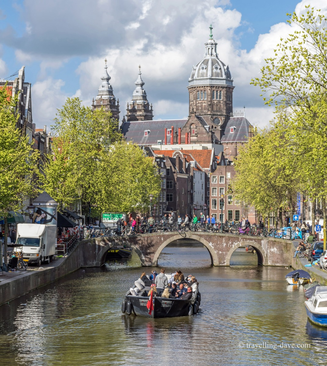 View of a church and bridge over a canal in Amsterdam