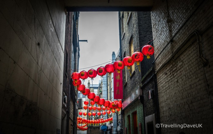 View of an alley in London's Chinatown