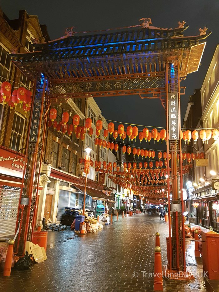 View of London's Chinatown at night