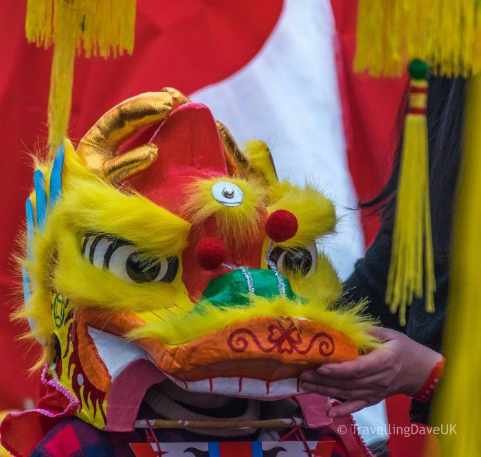 Colourful dragon's head costume