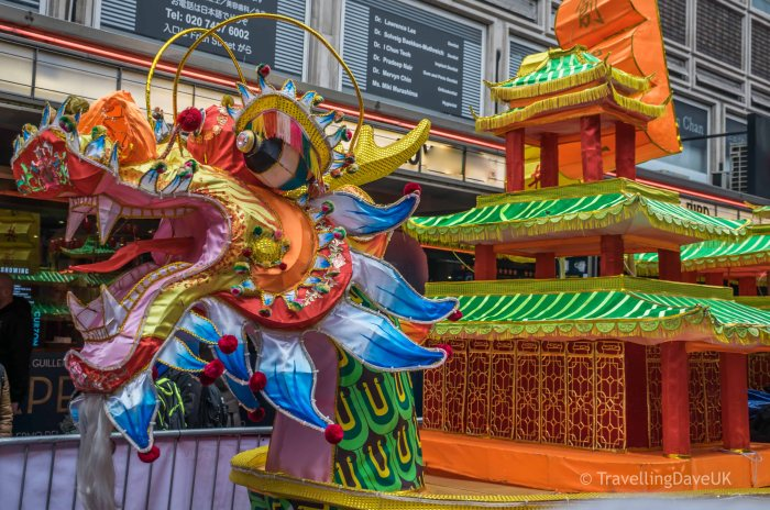 A colorful float for Chinese New Year