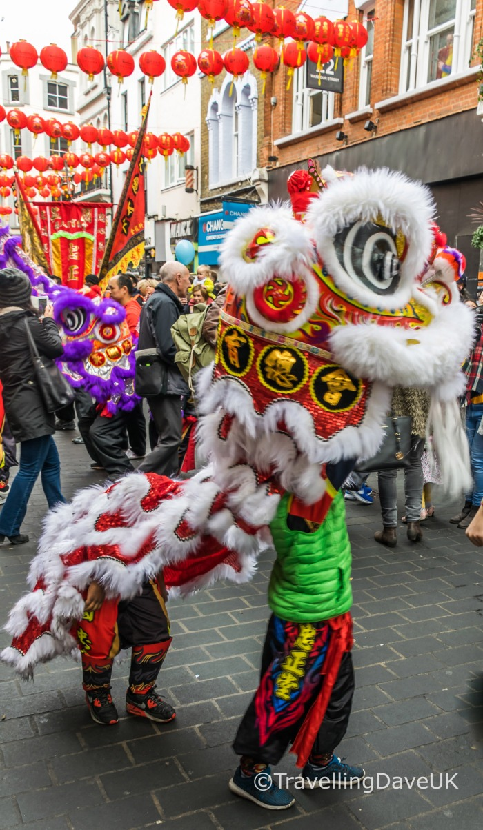Children performing a Chinese Lion Dance
