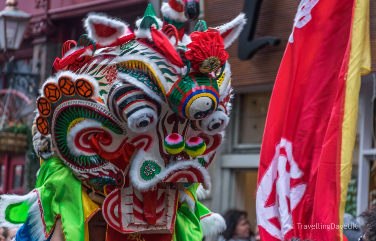 Close up of a Chinese Lion Dance costume