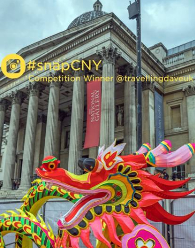 Red dragon's head against the facade of the National Gallery