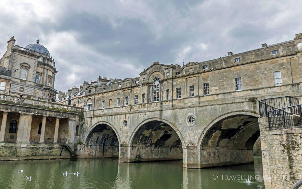 View of Pulteney Bridge in Bath in England.
