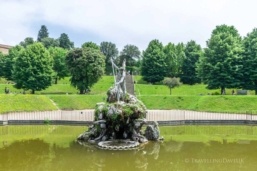 View of Neptune Fountain in the Boboli Gardens in Florence in Italy