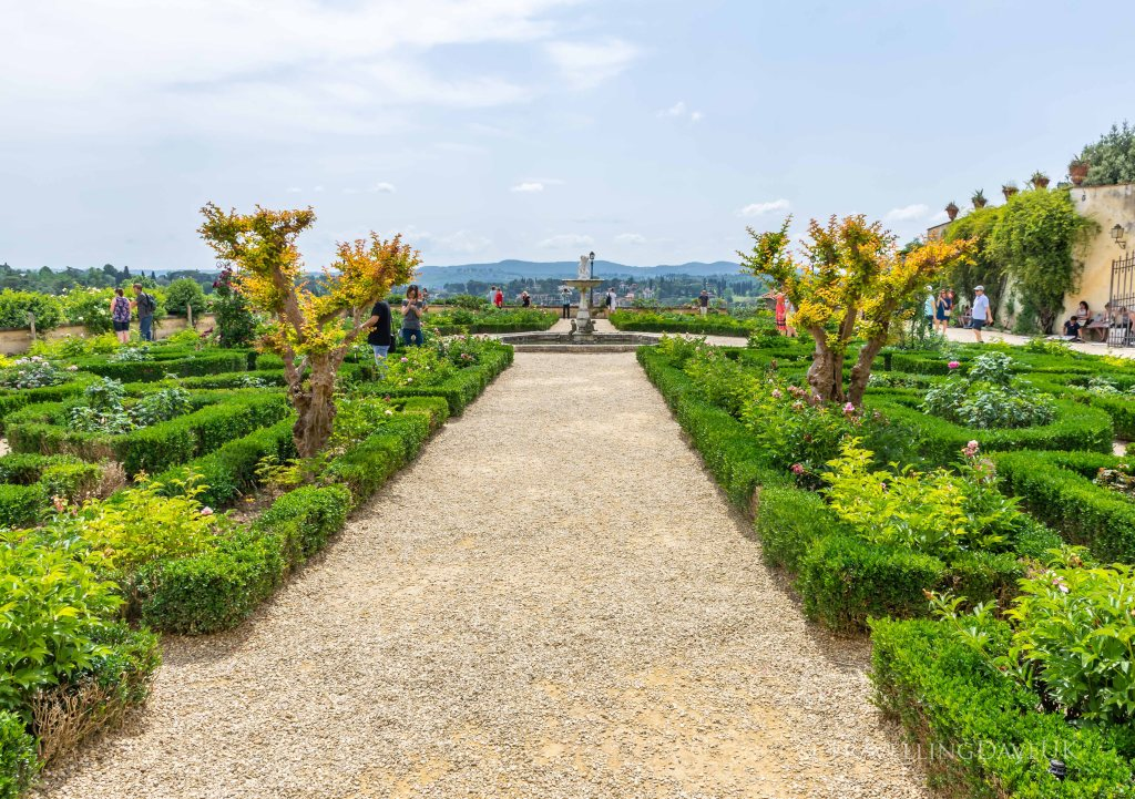 View of manicured edges in the Boboli Gardens in Florence in Italy