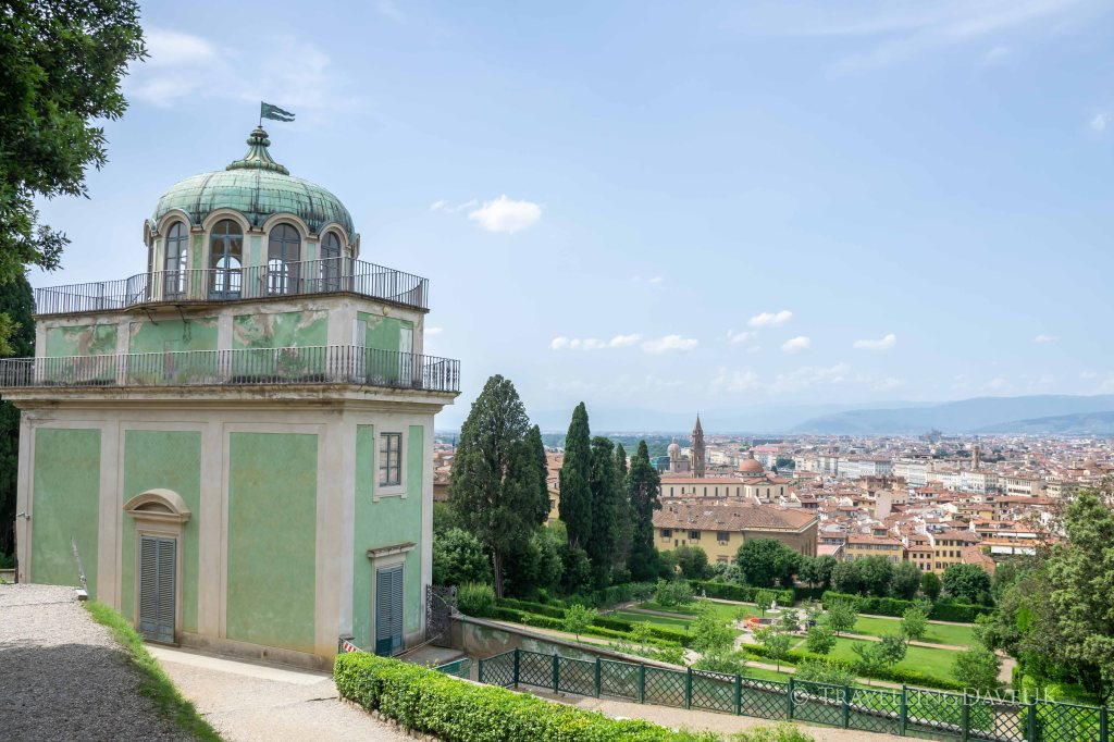 View of a beautiful pavilion in the Boboli Gardens in Florence in Italy