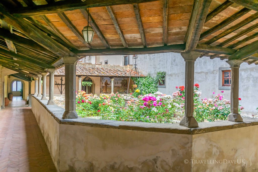 View of the cloister at Saint Francis Convent in Fiesole in Italy