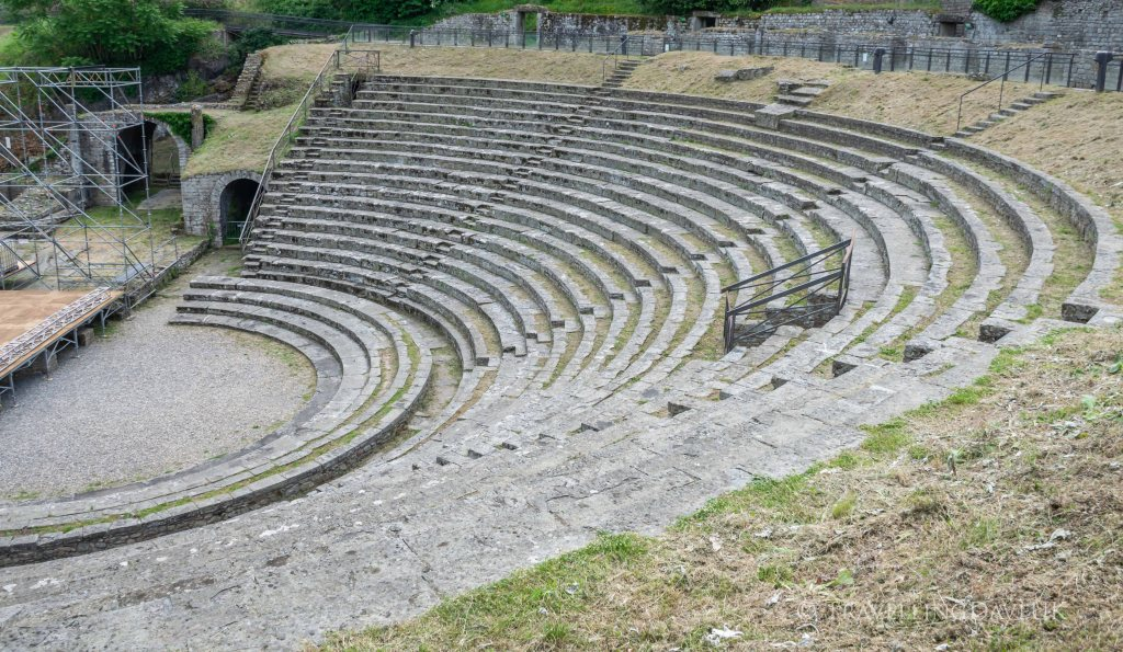 View of the Roman Amphitheatre in the town of Fiesole in Italy