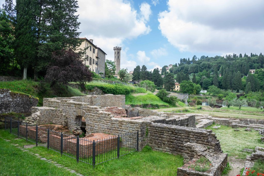 View of the ruins of the Roman Baths in the town of Fiesole in Italy