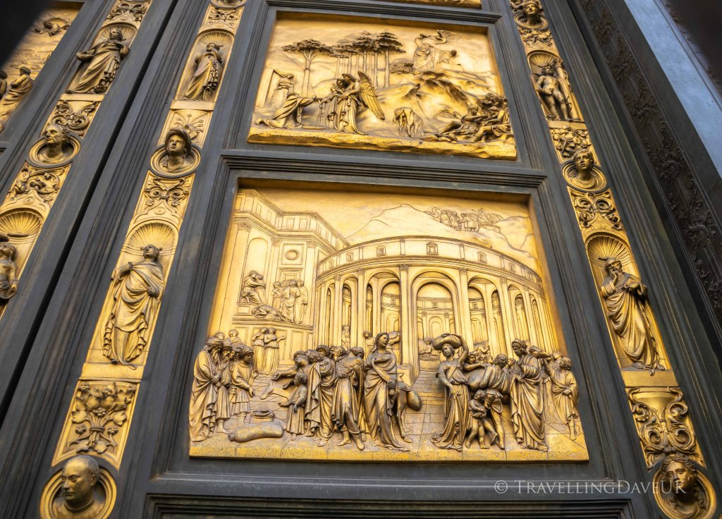 View of door panels of Florence Baptistery in Italy