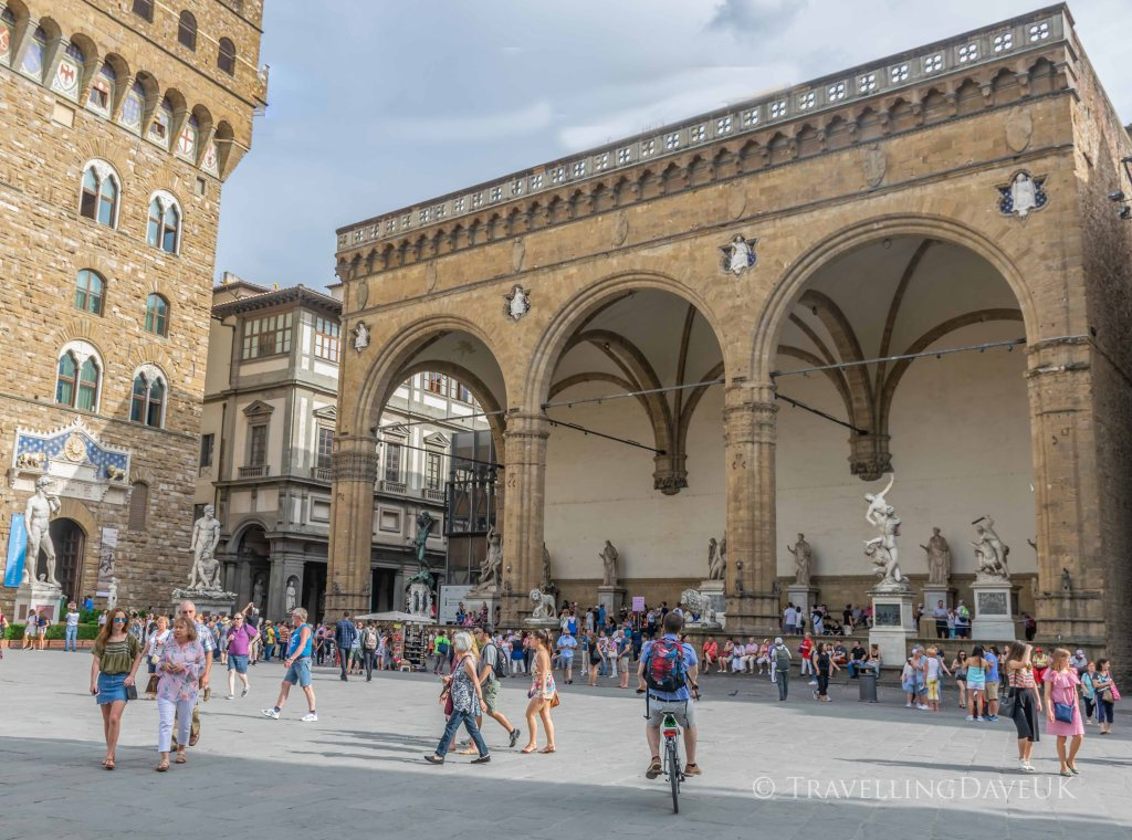 View of the Loggia dei Lanzi in Florence in Italy