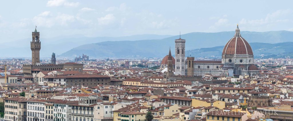 View of Palazzo Vecchio, the cathedral and Giotto Campanile in Florence in Italy