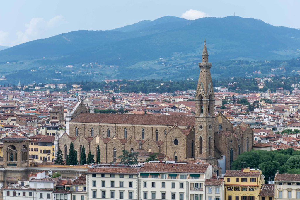 View of Santa Croce church in Florence in Italy