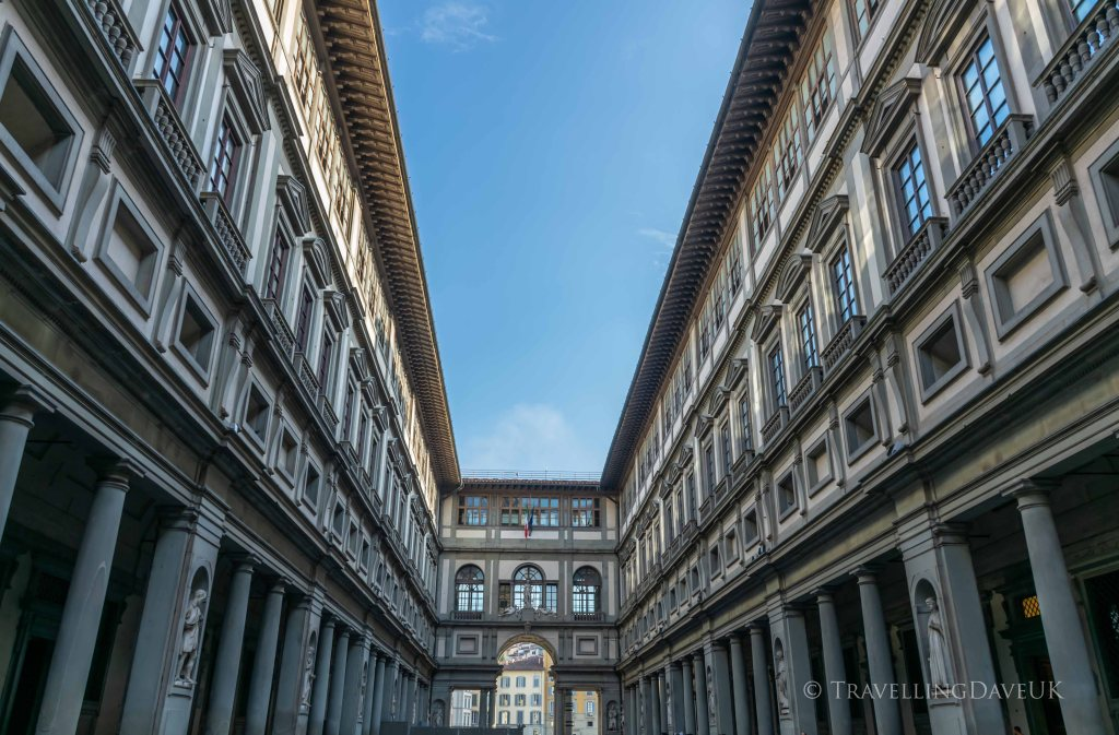 View of the building housing the Uffizi Museum in Florence