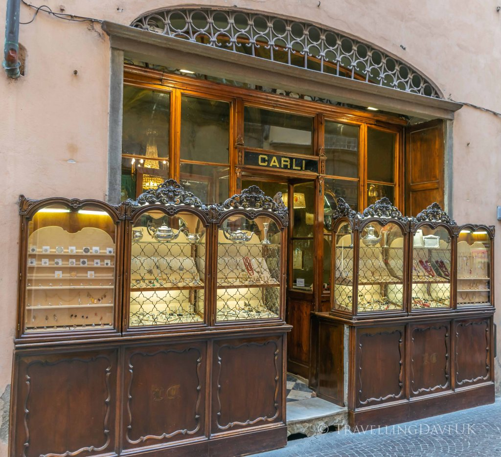 View of an old jewellery shop in Lucca in Italy