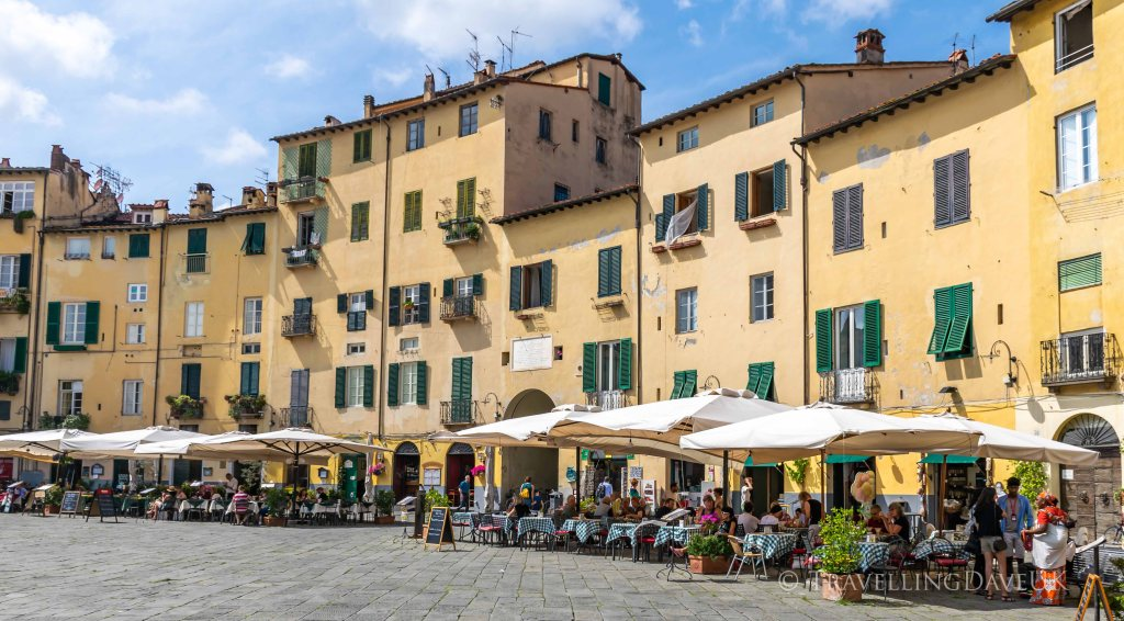 View of Piazza Anfiteatro in Lucca in Italy
