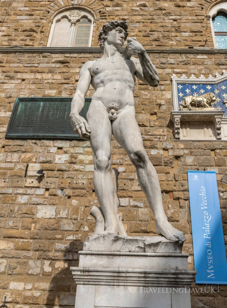 View of a copy of Michelangelo David statue in Florence in Italy