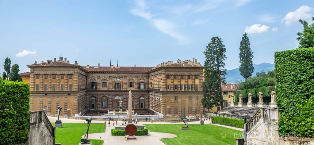 Palazzo Pitti seen from the Boboli Gardens in Florence in Italy