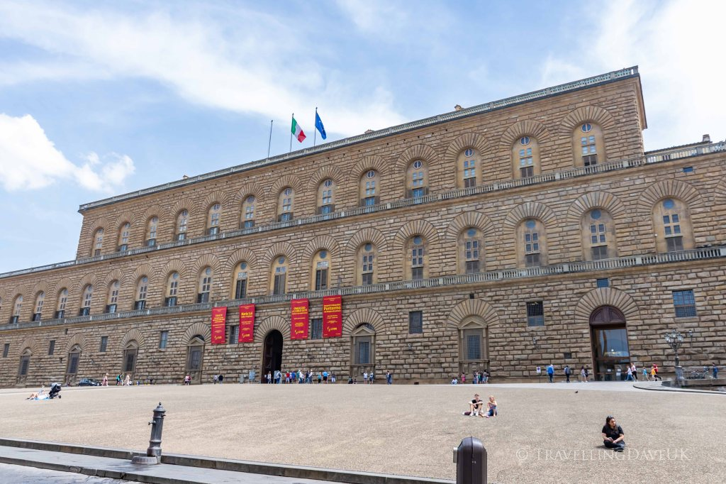 Panoramic view of Palazzo Pitti in Florence in Italy