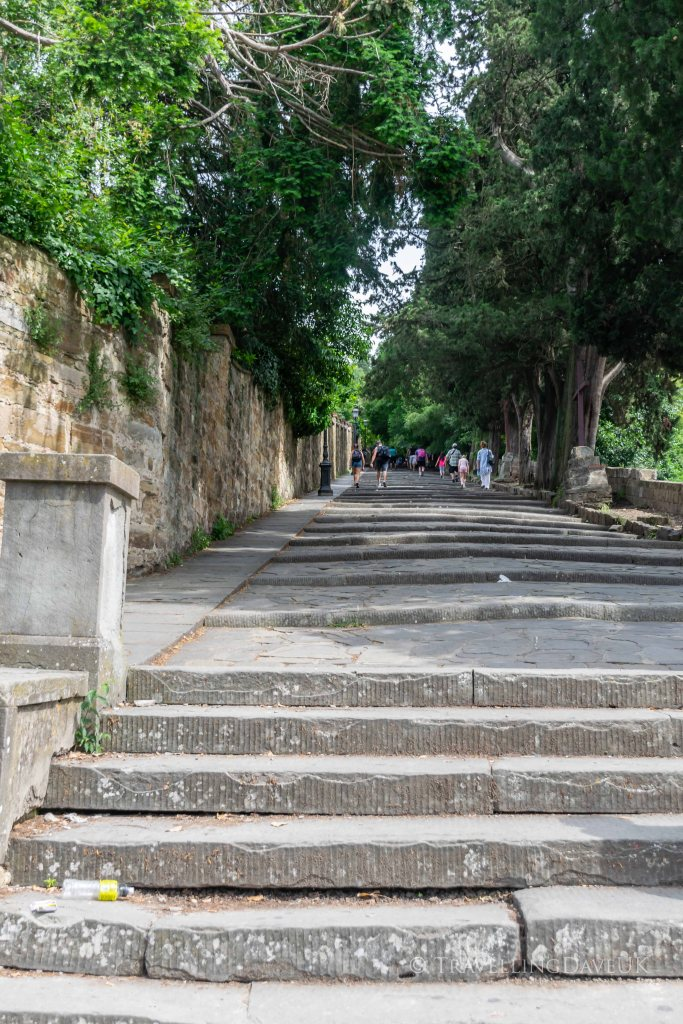 Steps to Piazzale Michelangelo in Florence in Italy