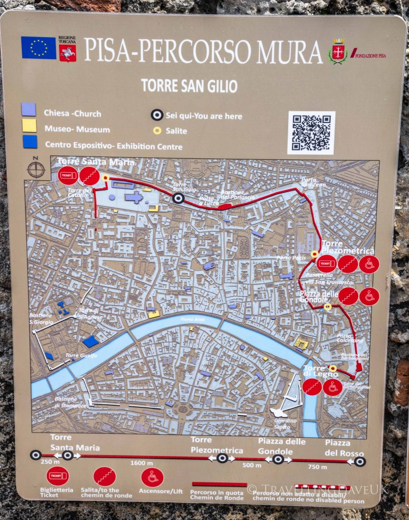 View of the map of Pisa City Walls walk