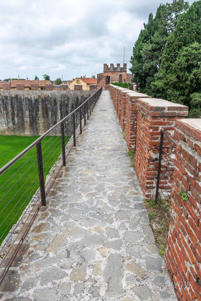 View of a walkway of Pisa City Walls