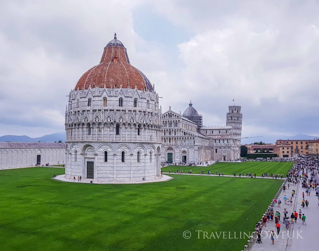 Panoramic view of Piazza dei Miracoli in Pisa in Italy