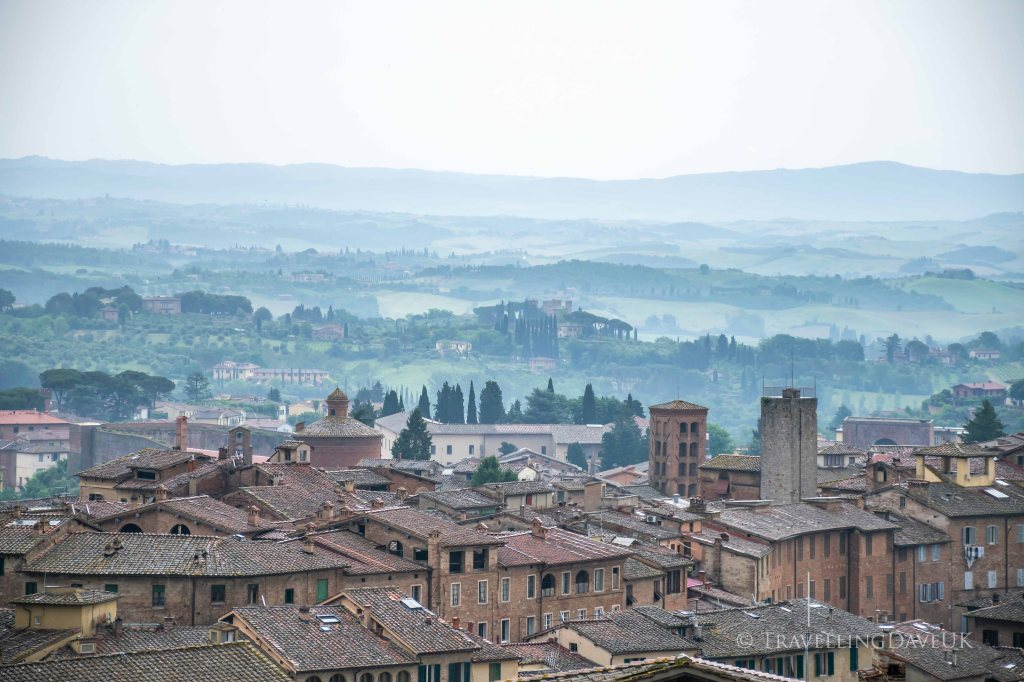 A misty view of the Tuscany Hills from Siena in Italy