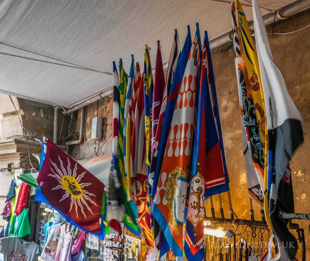 View of flags of Siena contrade in Italy