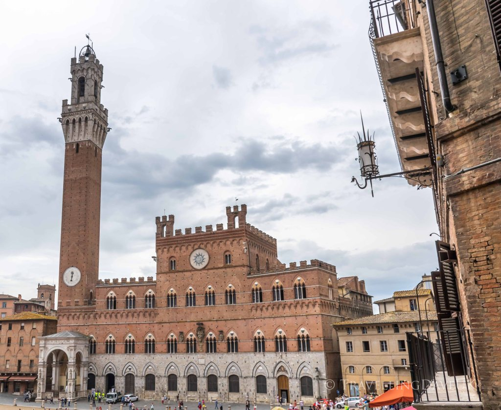View of Siena Palazzo Pubblico and Torre del Mangia in Italy
