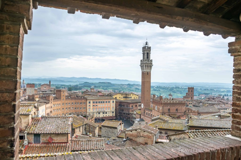 A panoramic view of Piazza del Campo in Siena in Italy from the Facciatone lookout