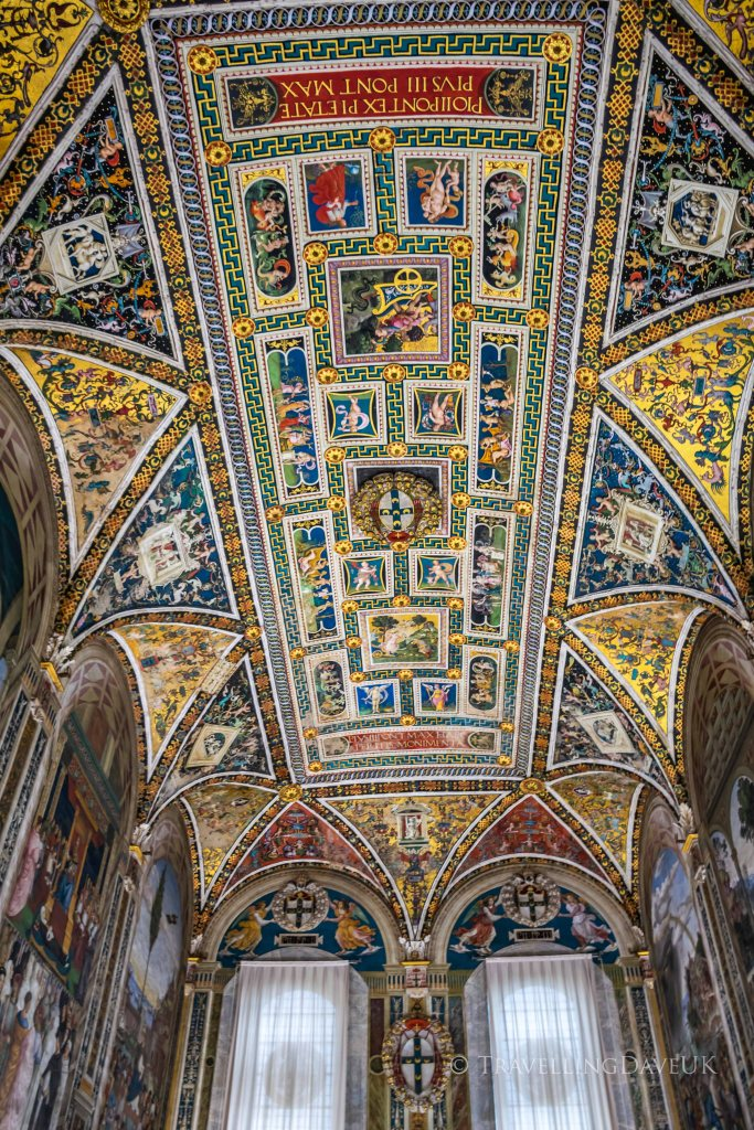View of the ceiling of the Piccolomini Library in Siena in Italy